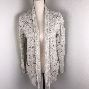 Lucky Brand Crochet Cardigan With Front Pockets
